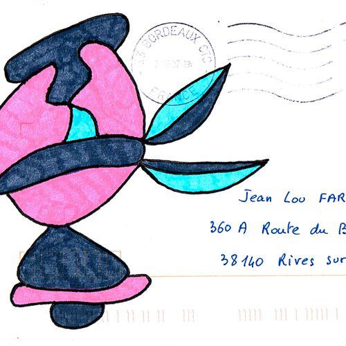 GOUX Claudine Sans titre / Enveloppe Mail Art / Feutre sur papier / Tampon de l'…