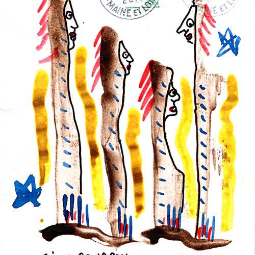 ARNEODO Alain Sans titre / Enveloppe Mail Art / Collage sur papier / Signé au do…