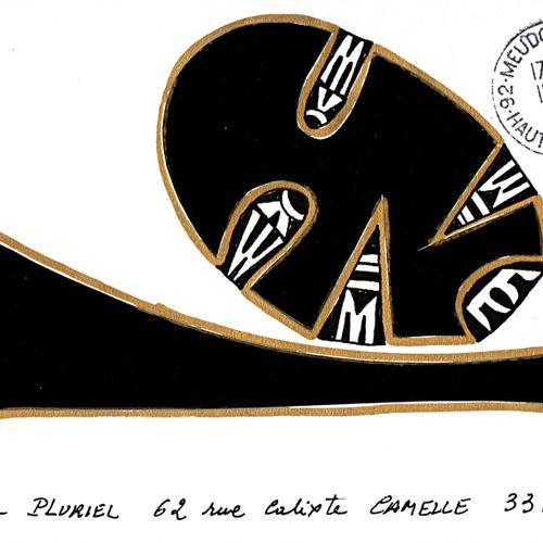 PAUZIÉ Alain Sans titre / Enveloppe Mail Art / Technique mixte et collage sur pa…