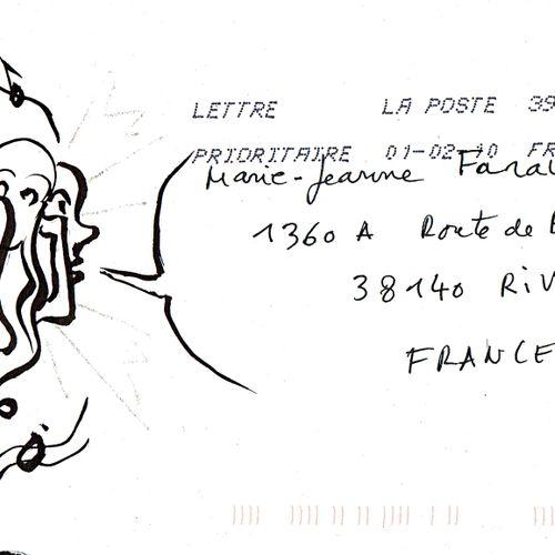 DETEY Maurice Sans titre / Enveloppe Mail Art / Encre et feutre argenté sur papi…