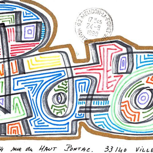 PAUZIÉ Alain Sans titre / Enveloppe Mail Art / Technique mixte sur papier / Sign…