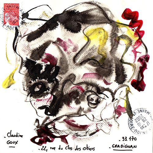 ARNEODO Alain Sans titre (8.157) / Enveloppe Mail Art / Technique mixte sur papi…