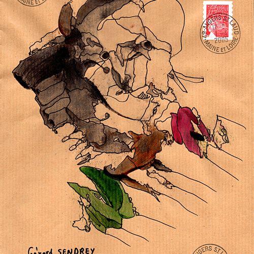 ARNEODO Alain Sans titre (9.929) / Enveloppe Mail Art / Technique mixte sur papi…