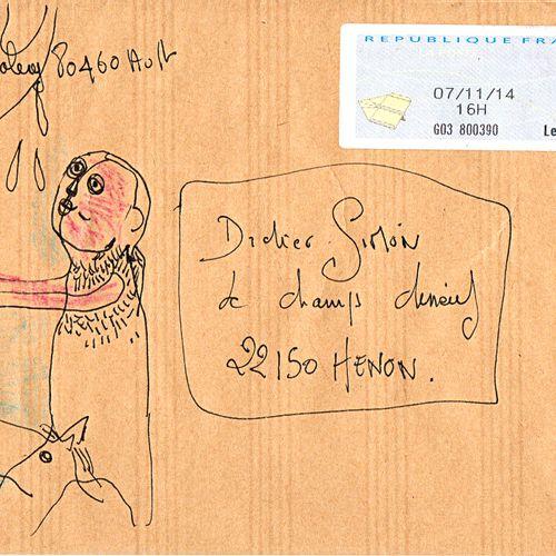 DAHYOT Caroline Sans titre / Ensemble de 2 enveloppes Mail Art / Technique mixte…