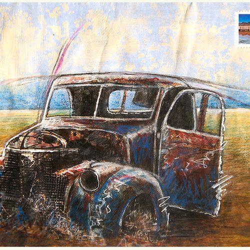 LACROIX Jean Luc Mail Car / Enveloppe Mail Art / Acrylique et crayon sur papier …