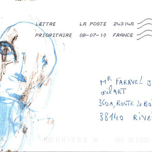 GOUGELIN Eric Sans titre / Enveloppe Mail Art /Technique mixte sur papier / Sign…