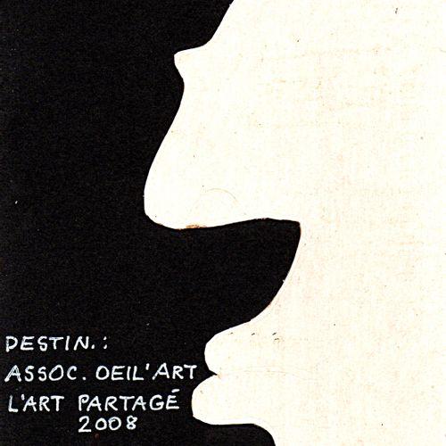 ALBASSER Pierre Sans titre / Carte Mail Art / Découpage de carton gris sur canso…
