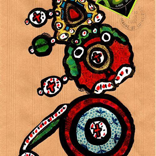 ARNEODO Alain Sans titre (7171) / Enveloppe Mail Art / Technique mixte et collag…