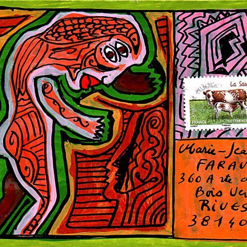 JULLIARD Michel Sans titre / Enveloppe Mail Art / Technique mixte sur papier / S…