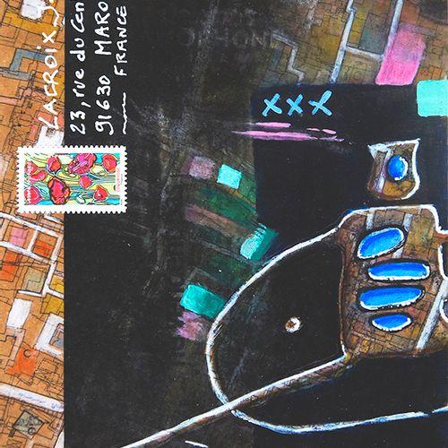 LACROIX Jean Luc Mail Gramo / Enveloppe Mail Art / Acrylique et crayon sur papie…