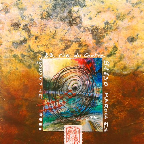 LACROIX Jean Luc Mail Tiger / Enveloppe Mail Art / Acrylique, crayon et collage …
