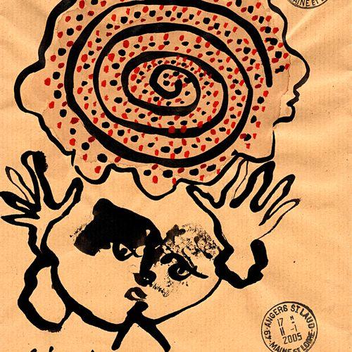 ARNEODO Alain Sans titre (10.192) / Enveloppe Mail Art / Technique mixte sur pap…