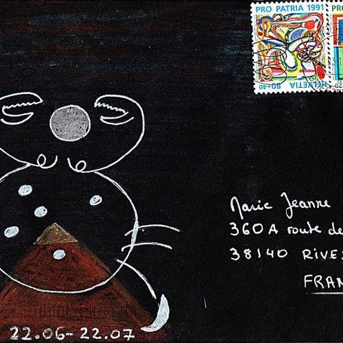 STEIGER Marie Jocelyne Sans titre / Enveloppe Mail Art / Technique mixte sur pap…