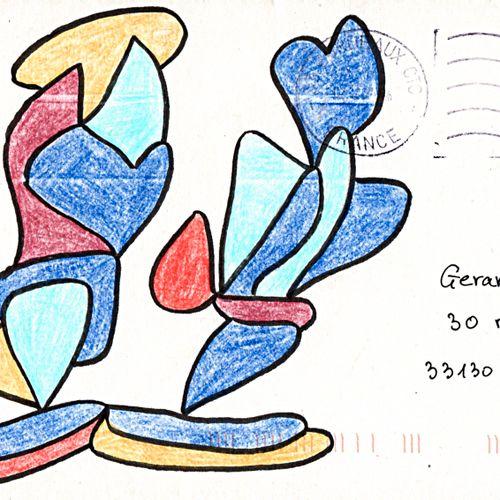 GOUX Claudine Sans titre / Enveloppe Mail Art / Technique mixte sur papier / Tam…