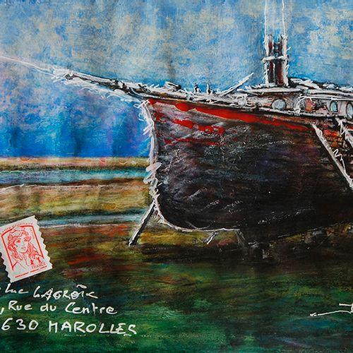 LACROIX Jean Luc Mail Old Ship / Enveloppe Mail Art / Acrylique et crayon sur pa…