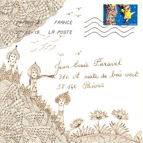 PESSIN Nicole Sans titre / Enveloppe Mail Art / Technique mixte sur papier / Sig…