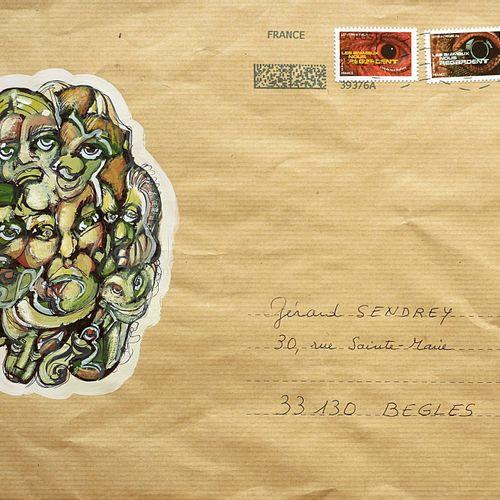 THUILLIER Jean Luc Sans titre / Enveloppe Mail Aet / Technique mixte sur papier …