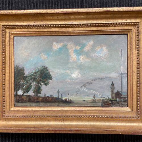 André HAMBOURG (1909 1999) Honfleur, l'entrée du port, été 48 Huile sur toile, s…