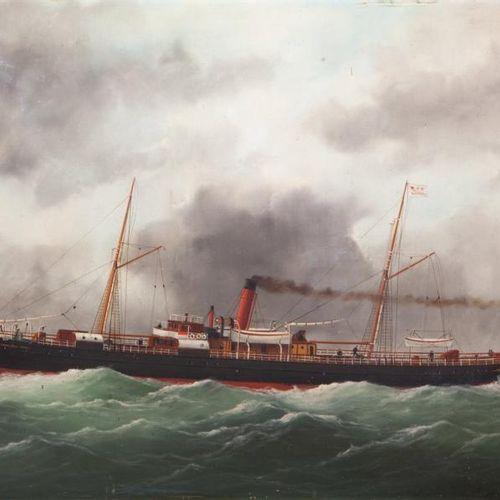 Edouard ADAM (1847 1929, Peintre de la Marine) « Paquebot Mustapha Ben Ismaïl de…