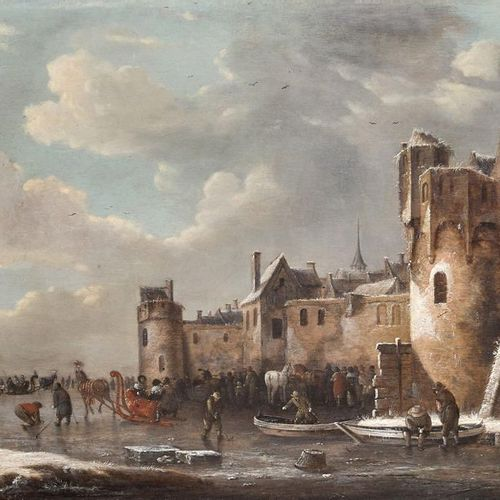 École HOLLANDAISE, fin XVIIeme siècle Frozen river landscape near a fortress Oil…