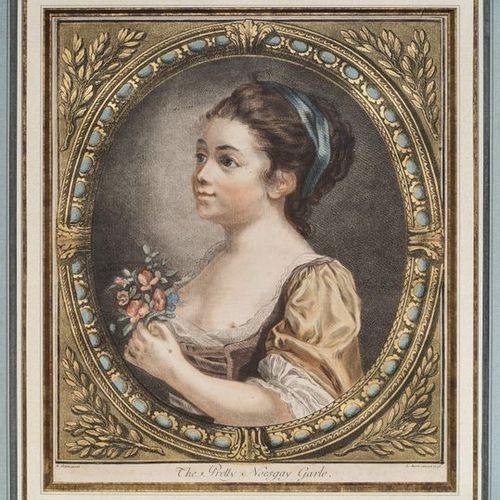Louis Marin BONNET (1736/43 1793) Provoking Fidelity Pair of colour prints 29 x …