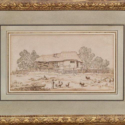 Johan Georg WILLE (1715 1808) attribué à Masure Plume and wash 15 x 26 cm