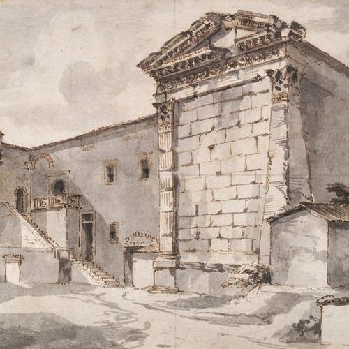 École FRANÇAISE, néoclassique Formerly attributed to PANINI View of a temple Plu…