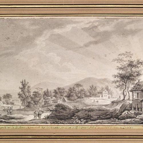 W. DOMINIQUE (XVIIIème siècle) Seigniorial farm of the Caillemottes, near Calais…