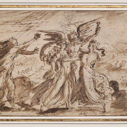 Ecole ITALIENNE, du XVIIIème siècle Allegorical scene: the passing of time Pen, …