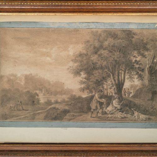Ecole ALLEMANDE, début XIXème siècle Le tableau de chasse, 1806 Fusain et craie …
