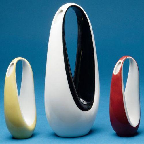Three horse collar vases. Rosenthal 1950s. Porcelain, colourfully glazed. Model …