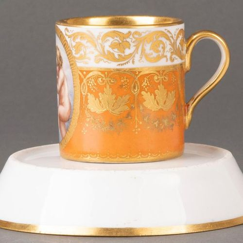 """Cup with saucer """"Antique Glatt"""" Vienna 1825 Both parts with salmon red backgroun…"""