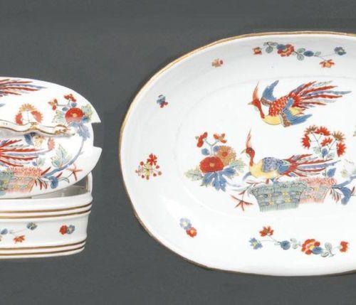 Boîte à poignée ovale avec bol inférieur Meissen 1735 Toutes les pièces sont pei…