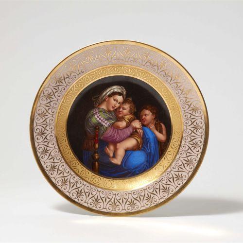 """Königliche Porzellanmanufaktur Berlin KPM Teller mit Gemäldekopie """"Madonna della…"""