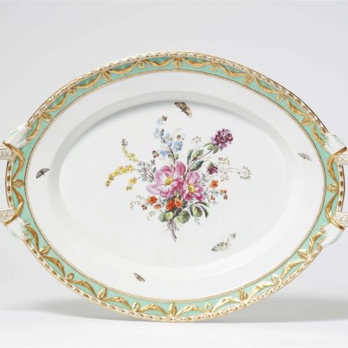 Königliche Porzellanmanufaktur Berlin KPM Ovale Platte mit aus dem Tafelservice …