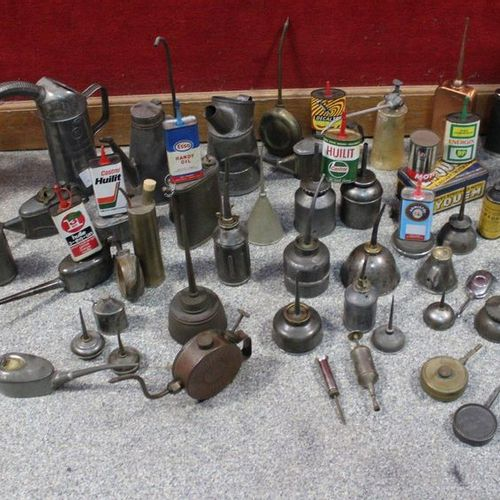 Set of antique metal oil pans.