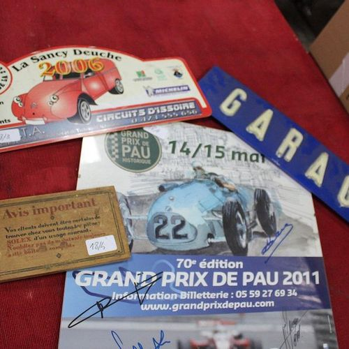 Lot including a garage plate, a rally plate, a SOLEX box top, a poster of the hi…