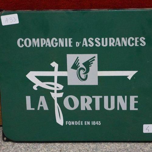 Enamelled plaque, Compagnie d'Assurances La Fortune, 30.5x38 cm.