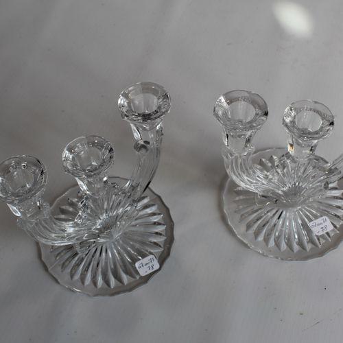 Pair of crystal candlesticks 3 lights. Height : 17 cm