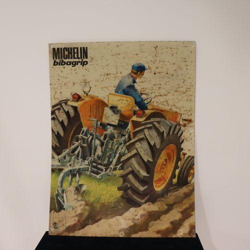 Plaque publicitaire en tôle Michelin bibagrip représentant un tracteur (assez bo…