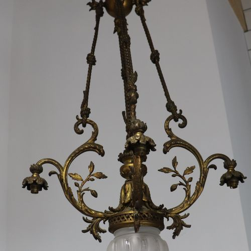 Bronze chandelier, 4 lights in crown, one light in upper part, one light in cent…