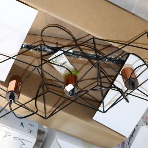 Orlando wire hanging lamp, copper coloured, metal, as new (width 55 cm x 18 cm)