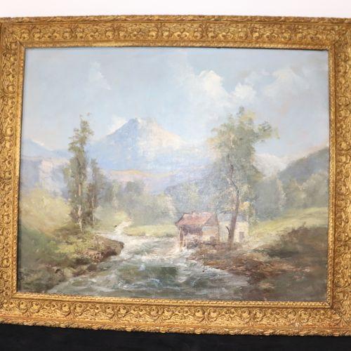 Emile GODCHAUX Emile GODCHAUX (1860 1938)  The Pyrenees (torrent)  Unsigned oil …