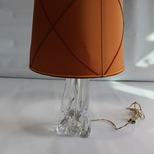 Cristal lamps Vessière Nancy. Baccarat crystal deposit. Fawn coloured lampshade.…