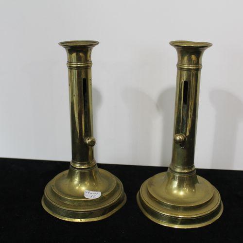Pair of brass candlesticks. Height 22 cm