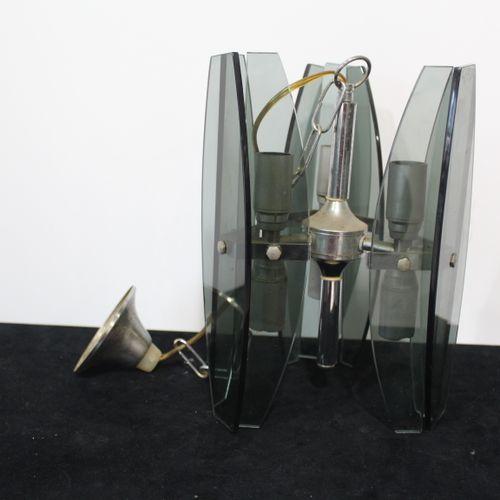 Suspension année 70 à plaquettes en verre fumée
