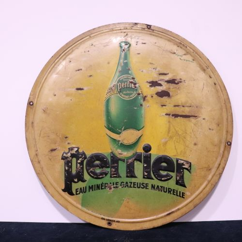 Plate PERRIER after Nova with some paint chips, Diam. 37cm