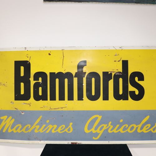 Plaque publicitaire métal BAMFORDS machines agricoles, H77cm, L153cm.