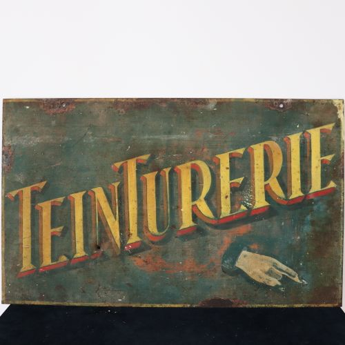 "An old sheet metal plate ""teinturerie"" H40 x W65cm"