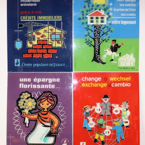 Set of 4 plexiglass plates advertising Crédit Populaire, H50cm, L40cm.